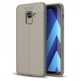 Etui Litchi Pattern Samsung Galaxy A8 2018 Grey