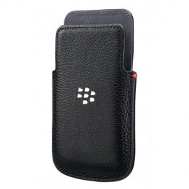 Leather Pocket Blackberry Q5 Black