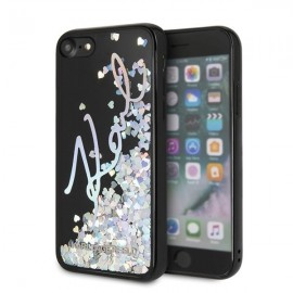 Etui Karl Lagerfeld iPhone 7 / 8 Signature Liquid Glitter Sequins Black