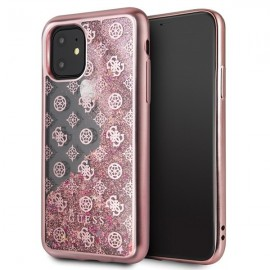 Etui Guess do iPhone 11 4G Peony Liquid Glitter Rose Gold