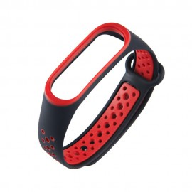 Silikonowy pasek Xiaomi Mi Band 4 / Mi Band 3 Dots Black/Red