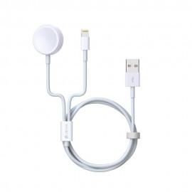 Kabel Devia Smart 2w1 z ładowarką indukcyjną do APPLE Watch biały