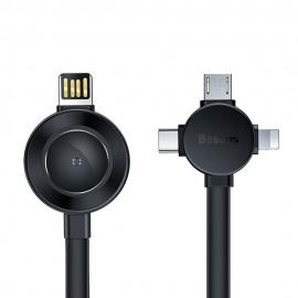 Kabel Baseus 4w1 Lightning / USB Typ C / micro USB 18cm z ładowarką Qi do Apple Watch