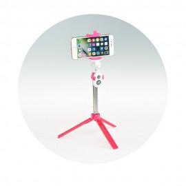 Tripod mini statyw na telefon do selfie z pilotem Pink