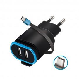 Ładowarka Sieciowa Forever 2xUSB 2,4A z kablem USB Typ C