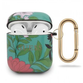 Etui Guess do Słuchawek Airpods / Airpods 2 N.1 Flower Collection Green