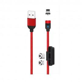 Magnetyczny Kabel USB 3w1 XO-NB128 Red