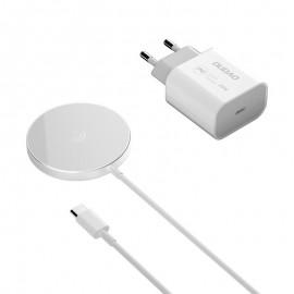 Dudao magnetyczna ładowarka bezprzewodowa Qi 15 W i ładowarka sieciowa 20 W (kompatybilna z MagSafe) White