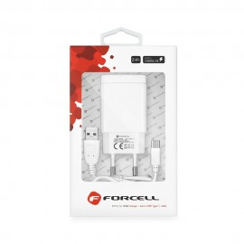 Ładowarka Sieciowa Forcell 2,4A Quick Charge 3.0 + kabel Typ C