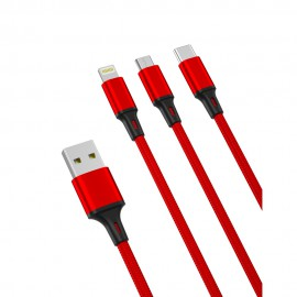 Kabel USB 3in1 USB - micro USB / Lightning / USB Type C 2.4A XO NB173 RED 1,2m