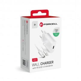 Forcell szybka ładowarka sieciowa USB Typ C 20W 3A QC 4.0 + kabel Lightning